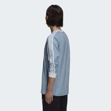 Camiseta Manga Longa Adicolor Classics 3-Stripes Azul Homem Originals