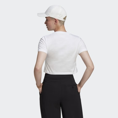 Polera Corta Adicolor Classics Roll-Up Sleeve Blanco Mujer Originals