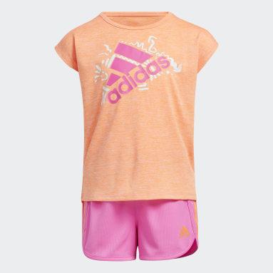 Children Training Orange Sport Tee and Shorts Set