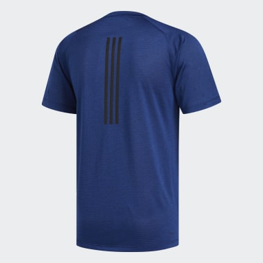 Men Yoga Blue FreeLift Tech Climalite Fitted Tee