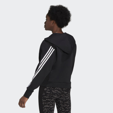 Women Sportswear Black adidas Sportswear Wrapped 3-Stripes Full-Zip Hoodie