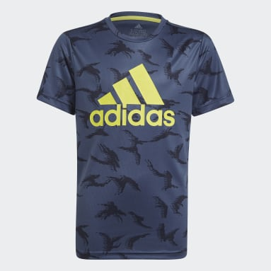 Youth 8-16 Years Sportswear Blue adidas Designed To Move Camouflage T-Shirt