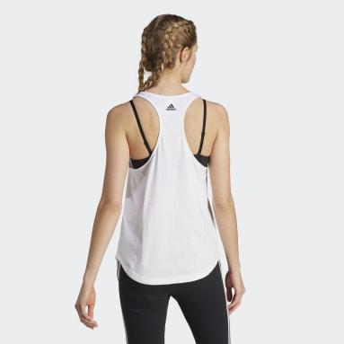 Polera sin Mangas Essentials Logo Holgada Blanco Mujer Diseño Deportivo