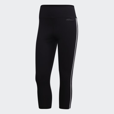Women Field Hockey Black Design 2 Move 3-Stripes 3/4 Leggings