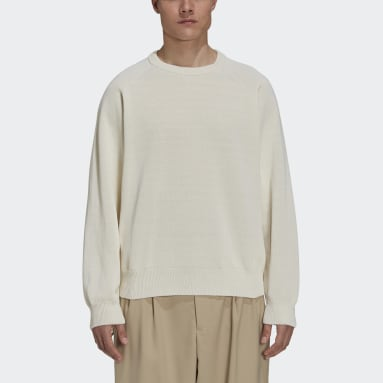 Men Y-3 White Y-3 Classic Knit Crew Sweater