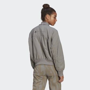 Women adidas by Stella McCartney Grey adidas by Stella McCartney Woven Bomber Jacket