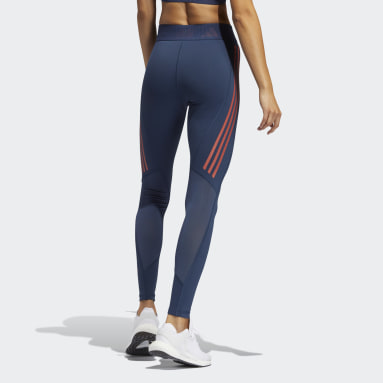 Mallas Largas Techfit 3 Franjas Azul Mujer Training