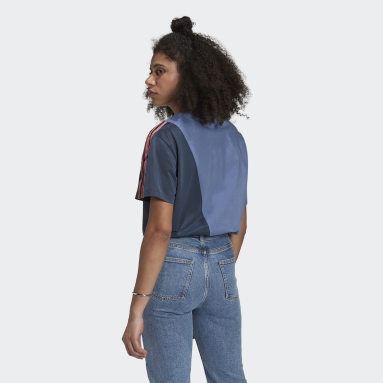 Dam Originals Blå Adicolor Sliced Trefoil Loose Tee