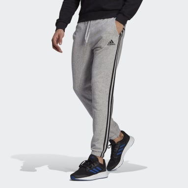 Essentials French Terry Tapered 3-Stripes Bukse Grå