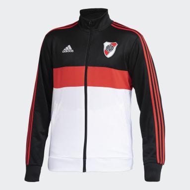 Campera Deportiva 3 Tiras River Plate Negro Hombre Fútbol