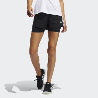 Women's Softball Black Pacer 3-Stripes Woven Two-in-One Shorts