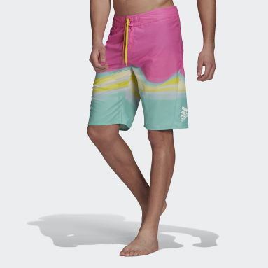 Men's Swim Pink Knee-Length Graphic Board Shorts