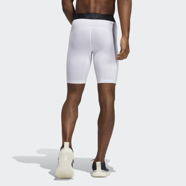 Men Running White Techfit Short Tights