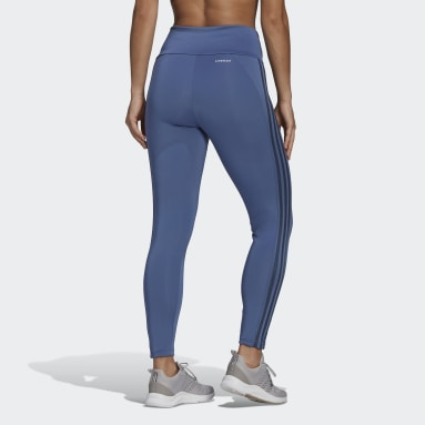 Women Training Blue Designed 2 Move High-Rise 3-Stripes 7/8 Sport Tights