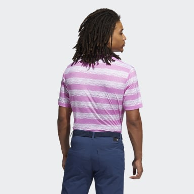 Men's Golf Pink Painted Stripe Polo Shirt