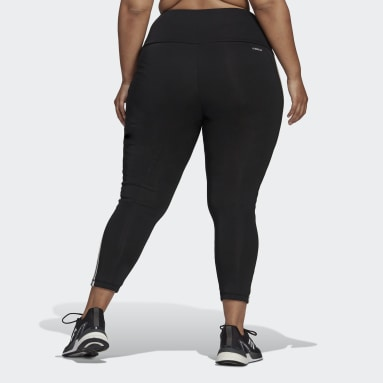 Women Gym & Training Black Designed To Move High-Rise 3-Stripes 7/8 Sport Tights (Plus Size)