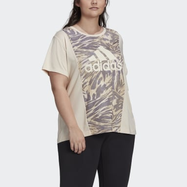 Women's Essentials Beige adidas x Zoe Saldana AEROREADY Tee (Plus Size)