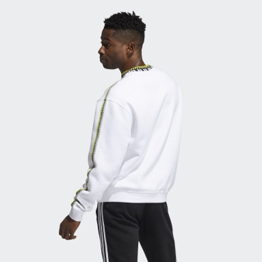 Sweat-shirt Rib Detail Crewneck blanc Hommes Originals