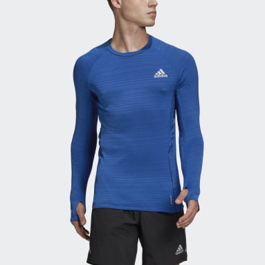 T-shirt Runner Long Sleeve Bleu Hommes Running
