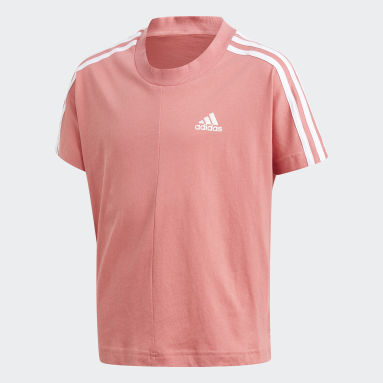 Youth 8-16 Years Gym & Training Pink 3-Stripes T-Shirt