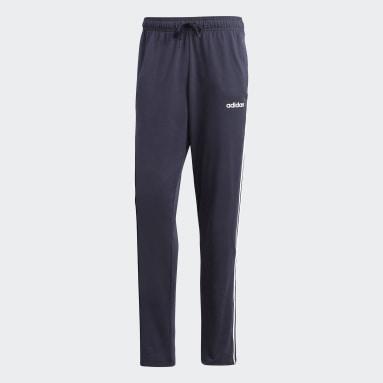 Men Sport Inspired Blue Essentials 3-Stripes Tapered Open Hem Pants