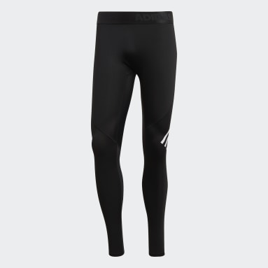 Licras Largas Alphaskin Sport+ 3 Rayas - Cintura Baja Negro Hombre Training