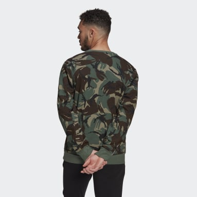 Men Essentials Green Essentials Camouflage Crew Sweatshirt
