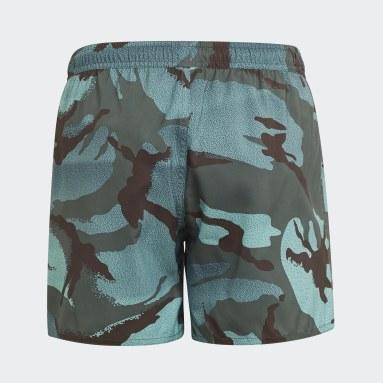 Kids 4-8 Years Swimming Green Camouflage Swim Shorts