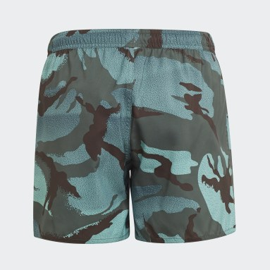 Boys Swimming Green Camouflage Swim Shorts