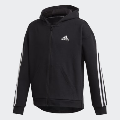 Girls Gym & Training Black 3-Stripes Full-Zip Hoodie