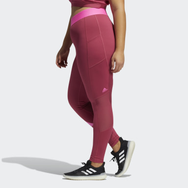 Women Gym & Training Pink Techfit Life Mid-Rise Badge of Sport Long Tights (Plus Size)