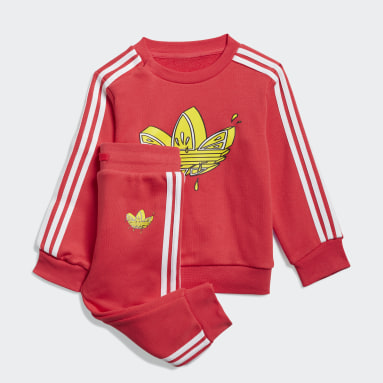 Kids Originals Pink Graphic Trefoil Crew Set
