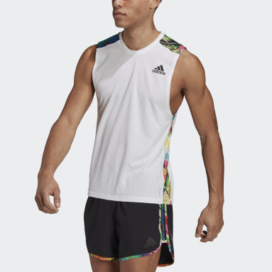 Men Running White Own The Run Floral Tank Top