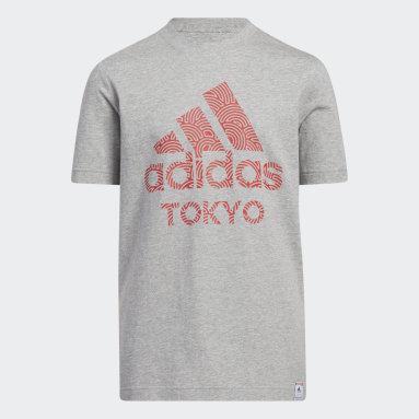 Camiseta manga corta Tokyo Pack Gris Niño Gimnasio Y Entrenamiento