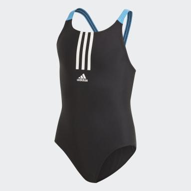 Kids 4-8 Years Swimming Black Fitness Swimsuit