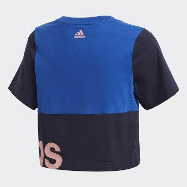 Girls Sportswear Blue Linear Colorblock Tee