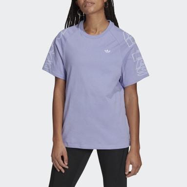 ผู้หญิง Originals สีม่วง เสื้อยืดทรงหลวม adidas Letter