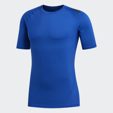 Heren Veld Hockey Blauw Alphaskin Sport T-shirt