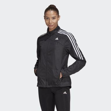 Women Running Black Marathon 3-Stripes Jacket