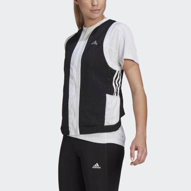 Dames Hardlopen zwart Own The Run 3-Stripes Bodywarmer
