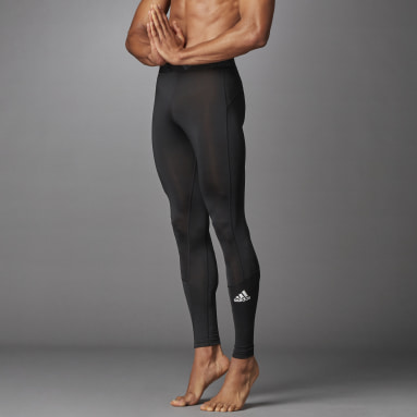 Men Winter Sports Black Techfit Long Tights