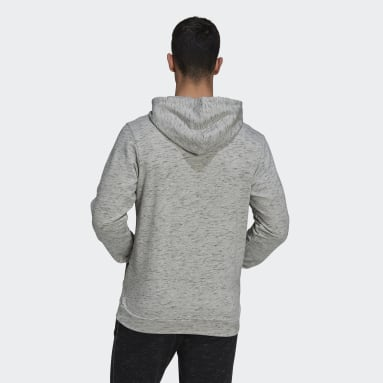 Männer Sportswear Essentials Mélange Embroidered Small Logo Hoodie Grau