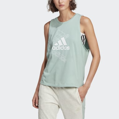 Dam Sportswear Grön adidas Essentials Stacked Logo Tank Top