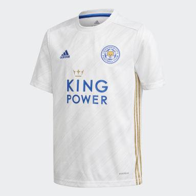 Børn Fodbold Hvid Leicester City FC 20/21 udebanetrøje