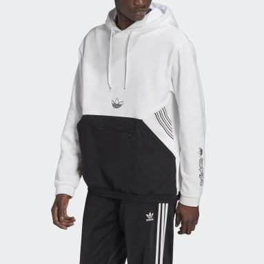 Men's Originals White adidas SPRT Archive Mixed Material Sweat Hoodie