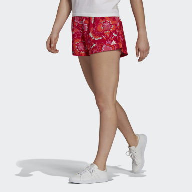 Women Sportswear Red FARM Rio Floral Print Shorts