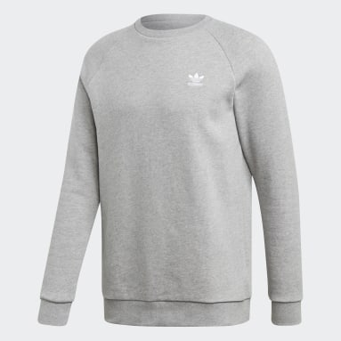 Men Originals Grey LOUNGEWEAR Trefoil Essentials Crewneck Sweatshirt