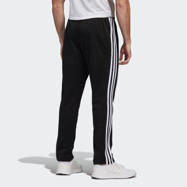 Men Gym & Training Black Tricot 3-Stripes Tapered Pants