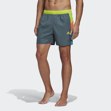 Men Water Sports Green Short Length Colorblock Swim Shorts