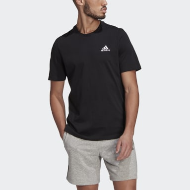 Men Sport Inspired Black Essentials Embroidered Small Logo Tee